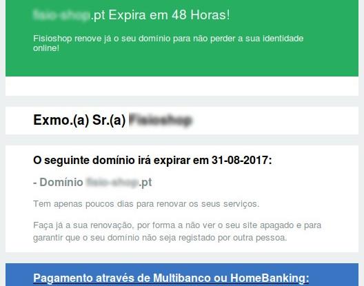 E-mail fraudulento para renovação .PT