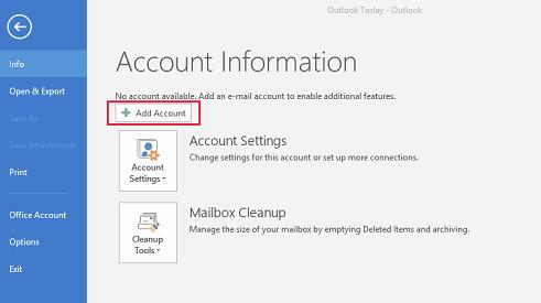 Alteração de definições de conta em Outlook 2016