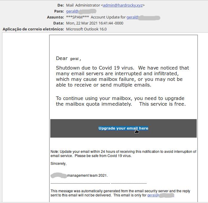 Mail falso que carrega virus quando acedido o link