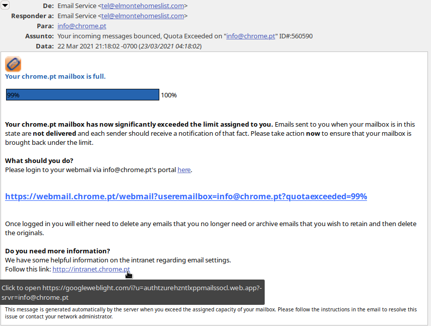 Objetivo de conseguir os dados de acesso da conta de correio para posterior uso malicioso